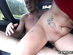 Blowjob and creampied in the back seat of the car