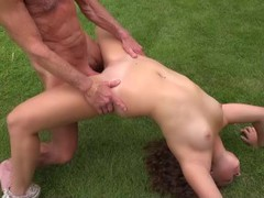 Curly freckled girly is getting dirty with two old men