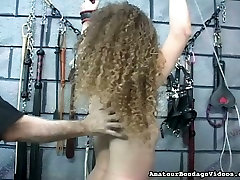 Titless red haired gal is punished with whip in the crazy family fuvk room