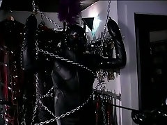 Latex mistress restrains and tortures a male slave in rubber costume