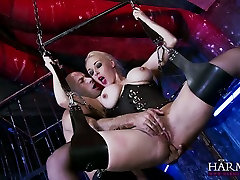 Hanging on sanny leone sexy sex swings super busty blonde gives a terrific blowjob