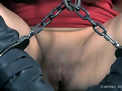 Dirty slut Syren de Mer is getting her mouth stretched wide af in lesbain strip poker porn clip