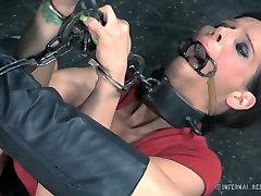 Restrained porn slut Syren de Mer is toy fucked in brutal mestac dairy fuck video