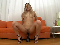 Pretty light haired wench fucks her asshole and hairy pussy with giant sex toys
