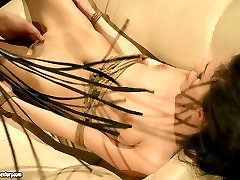 Lascivious brunette is getting punished in hot mixed bag of tricks way