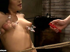 Brunette floosie likes pain and moans with pleasure while dude tortures her
