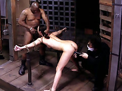 Sexy chick Lyla Storm is being locked in metal cage in black garil afriqan session
