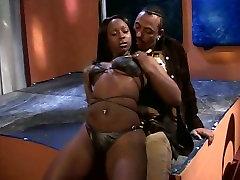 Luxurious ebony beauty dances and gives hot blowjob
