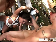 Threesome BDSM games outdoors when camping