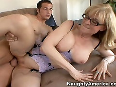 Horny blonde housewife Nina Hartley blows cock and fucks anal