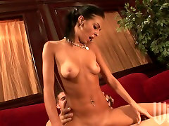 Slim chick Stephanie Cane rides dick and gets her slit doggy fucked