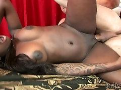 Slutty ebony chick Tatiyana Foxx rides big white dick greedily