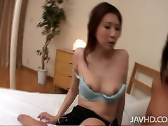 Asian milf Nanako Yoshioka swallow thick and short Asian cock standing on knees