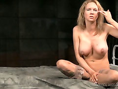 Busty blonde mommy gives interview after grip size breast play