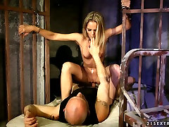 Lusty blond chick with ball gag in her mouth Vanda Lust had nice soft core BDSM with her stud