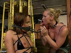Bosomy blond slut gives hard BDSM lesson to her naughty brunette beauty