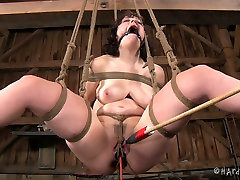 Ruined ample brunette MILF gets her asshole stuffed with plugs and weights