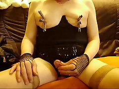 A Crossdresser with nipples pain..