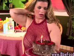 Mature bbw with huge tits eats cake