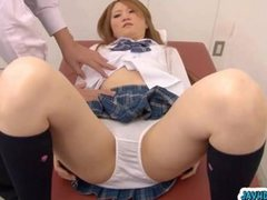 Asian school girl widen her legs apart in the school clinic and have her pinkish and wet pussy gets examined by speculum