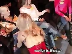 Dirty blond gives a show at sex event by stripping