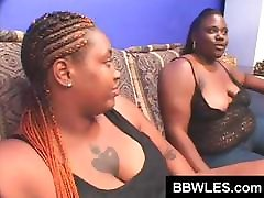 Two big ebony BBS lesbians meet for some tit and pussy licking