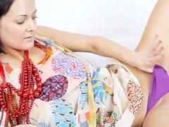 Busty pornstar in beads dildoing snatch