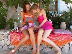 Two portuguese lesbian girls dildoing