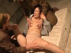 Asian military gangbang with sex slave getting cunt tortured