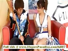 Risa Tsukino Asian doll in cheerleader gets licked