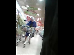 Unaware Granny Upskirted at the Supermarket