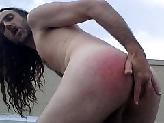 gringo slut spanking and fingering his ass on top of hotel 3