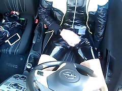 Adidas chile and rubber wanking in the car 3 my cock