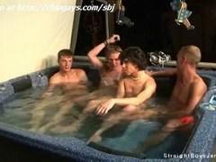 Four guys kiss then suck dicks