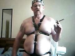 leather harness piss into glass
