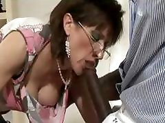Mature stocking slut interracial blowjob