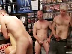Guy gets tied up and group fucked