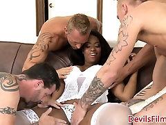Ebony lingerie babe gangbanged in all holes