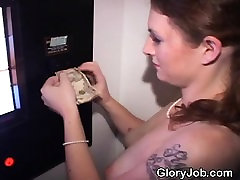 Pretty Brunette Blowjob And Facial Through Glory Hole
