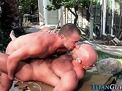 Mature bear jizzed over