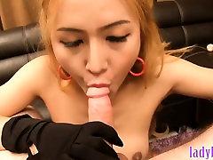 Big fake tits blonde asian ladyboy blowjob and hot anal sex