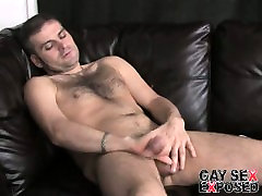 Hot and horny gay Dj masturbating his enormous cock on the