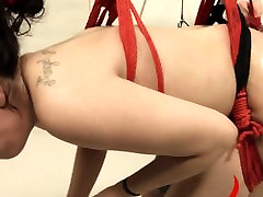 Extreme violently banged bdsm model with ropes