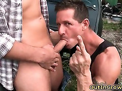 Sexy muscled hunk takes big gay dick