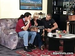Ultra blonde mature chick loves younger part2