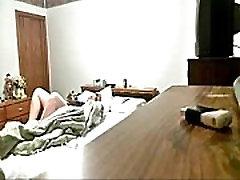 My mum masturbates on bed. Hiddden cam