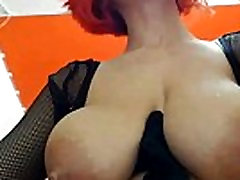 italian cow milking her big and full breasts