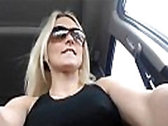 Blonde Goddess Squirting in the Car
