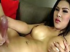 Asian Shemale Babe Makes Herself Cum
