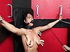 Lesbian submissive Demis fierce whipping and bondage of punished naughty slave